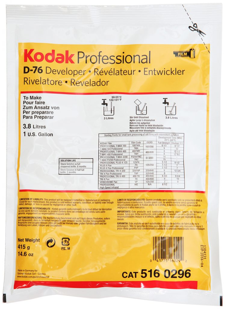 Kodak D-76 developer to make 3.8 litres (1 U.S. gallon)