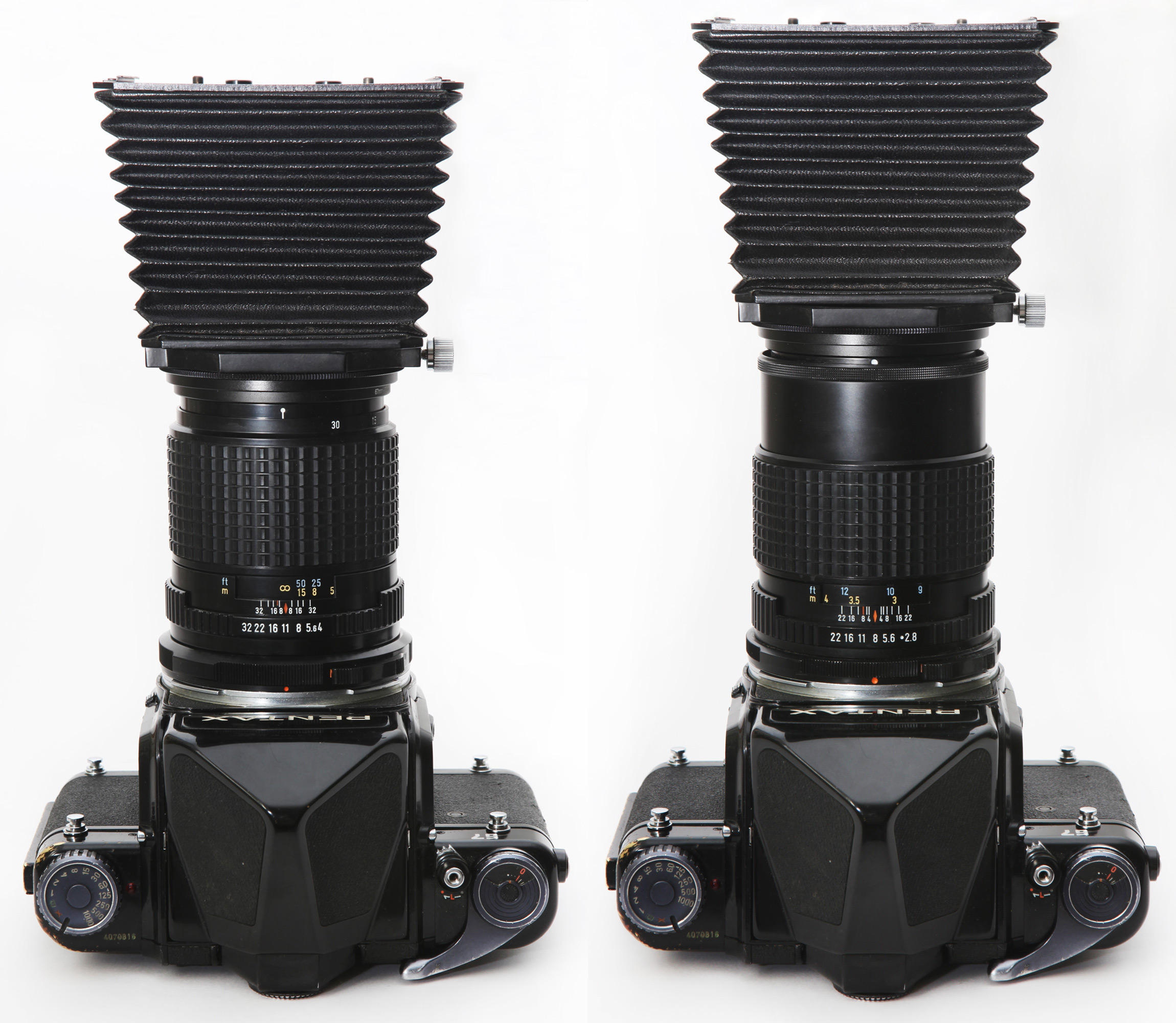 Mamiya RB67 and RZ67 bellows hood in 90mm and 127mm positions mounted on 135mm Macro F4 and 165mm F2.8