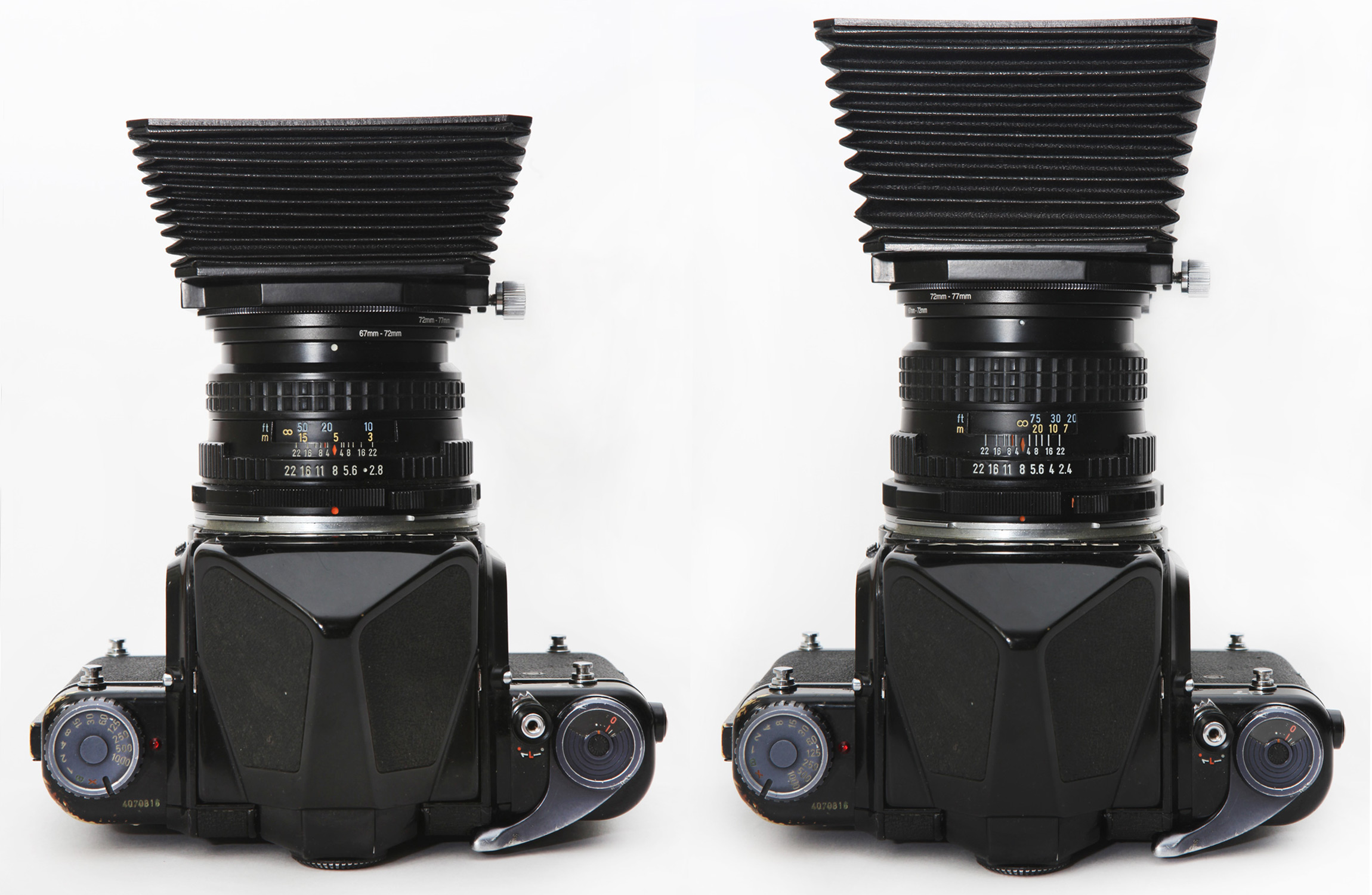 Mamiya RB67 and RZ67 G2 bellows hood in 90mm and 127mm positions mounted on 90mm F2.8 and 105mm F2.4