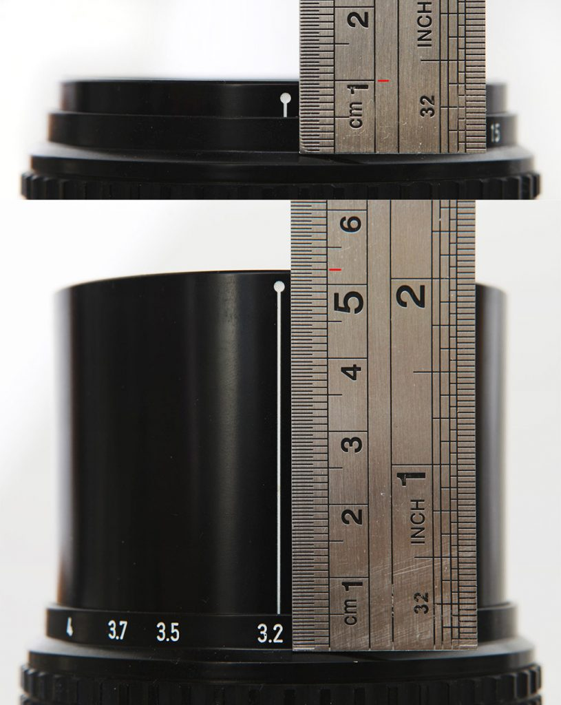 How to measure lens helicoid extension with a ruler. Example with Pentax 67 135mm f/4