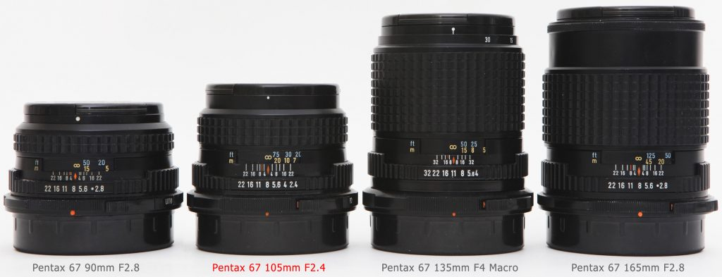 Pentax 67 105mm F2.4 compared with 90mm, 135mm Macro and 165mm