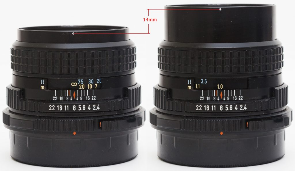 Pentax 67 105mm F2.4  - helicoid extension at infinity and closest distances