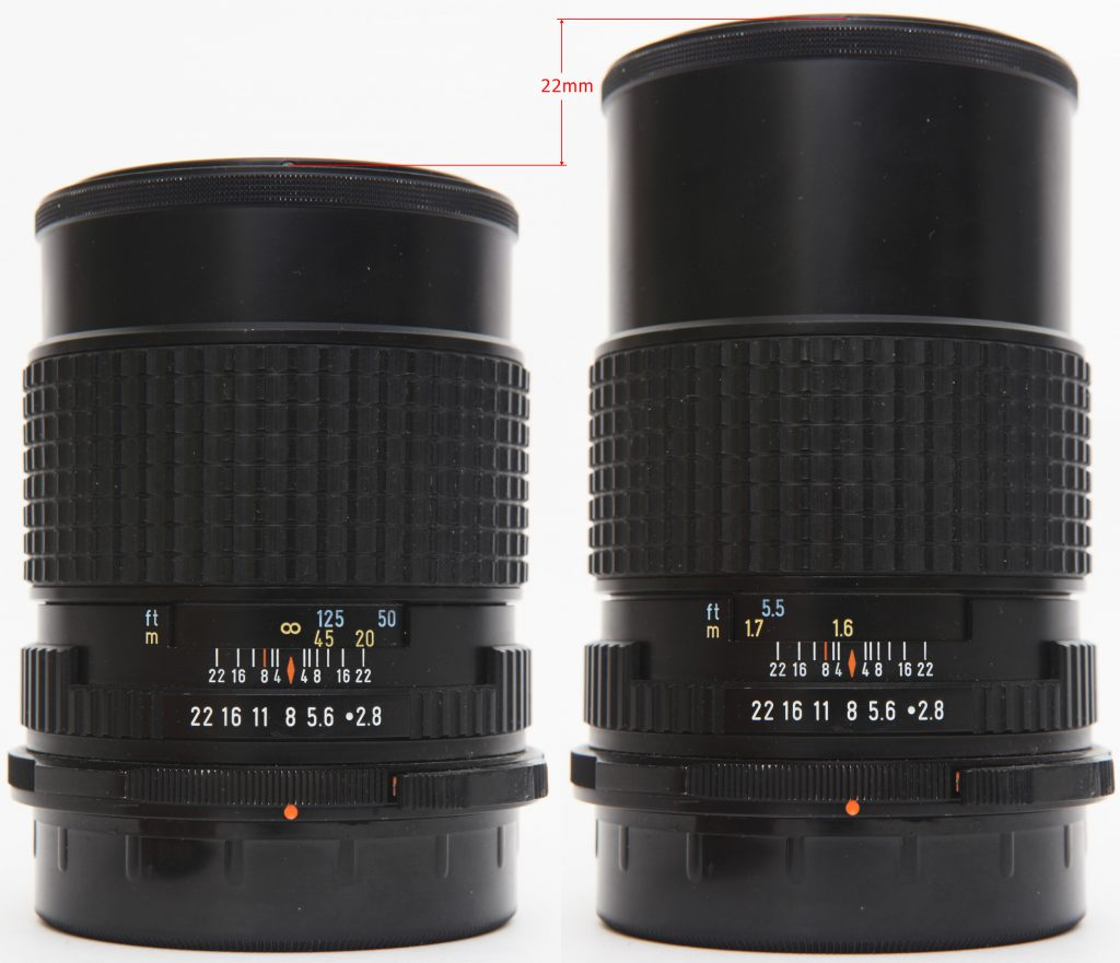 Pentax 67 165mm F2.8 - Helicoid extension  at infinity and closest distances