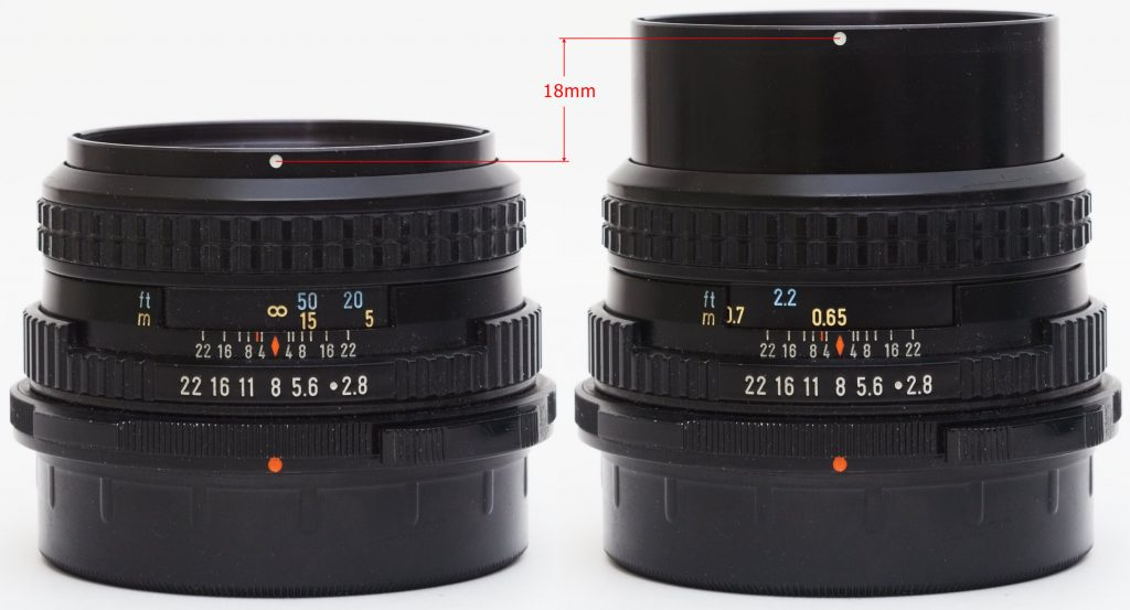 Pentax 67 90mm F2.8: helicoid extension at infinity and closest distances