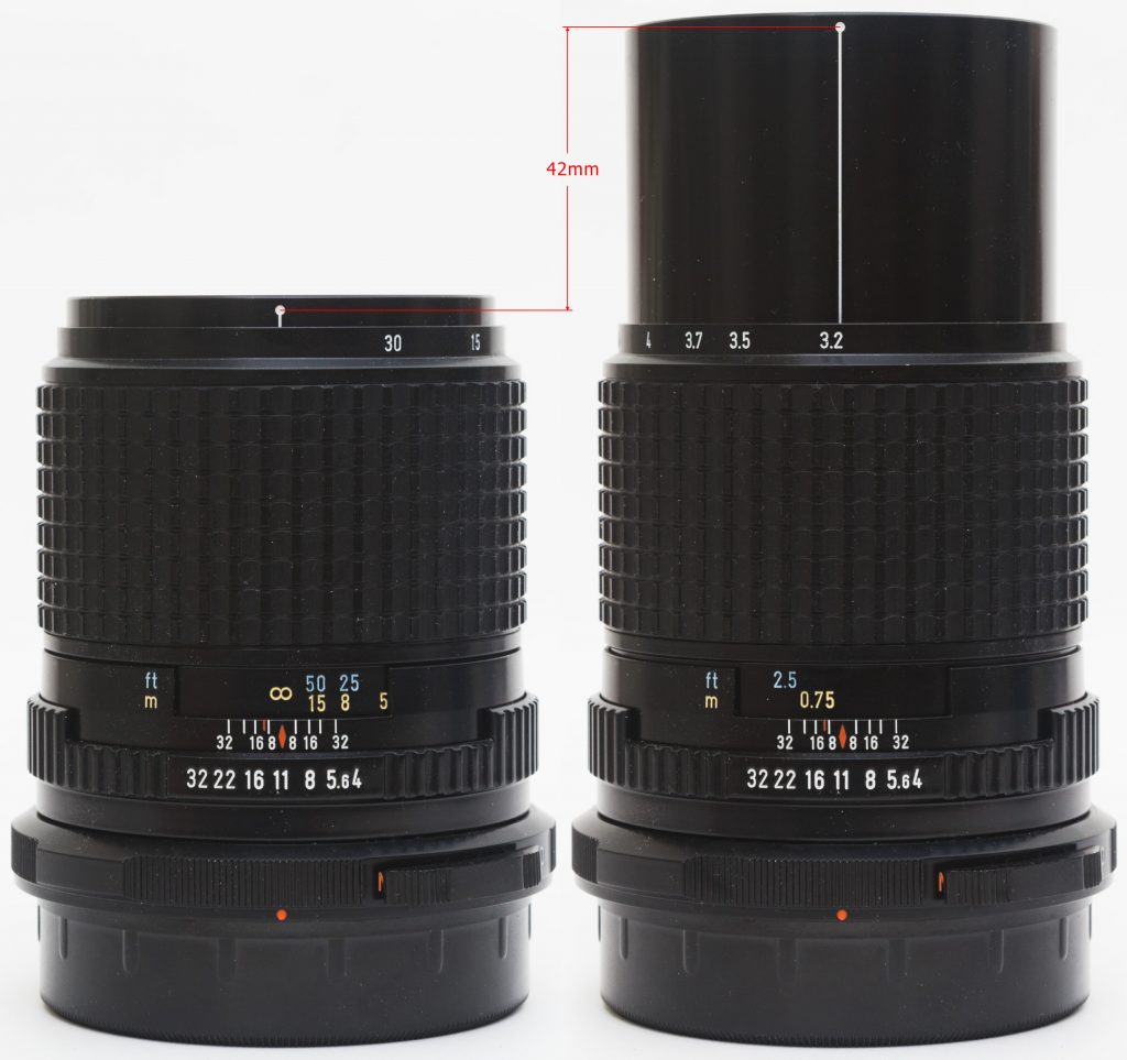 Pentax 67 135mm f/4  - helicoid extension at infinity and closest distances