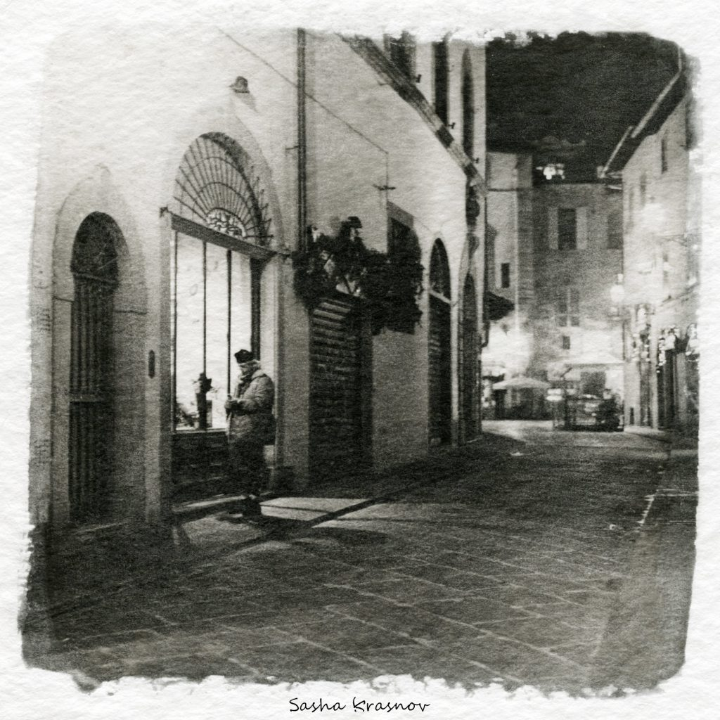 Night in Florence. Street photography print on Hahnemuhle watercolor paper, Fomaspeed liquid emulsion © Sasha Krasnov