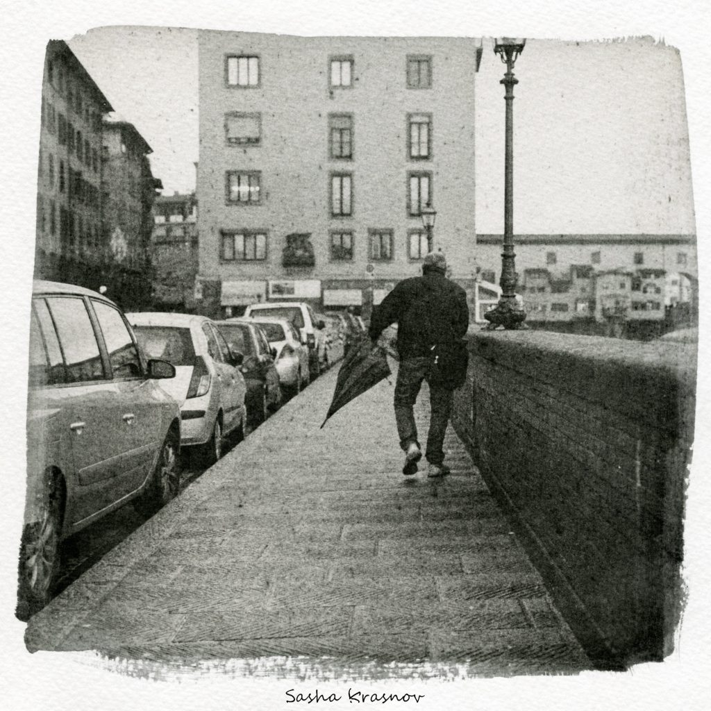 The Umbrella, Florence. Street photography print on Canson watercolor paper, Fomaspeed liquid emulsion © Sasha Krasnov