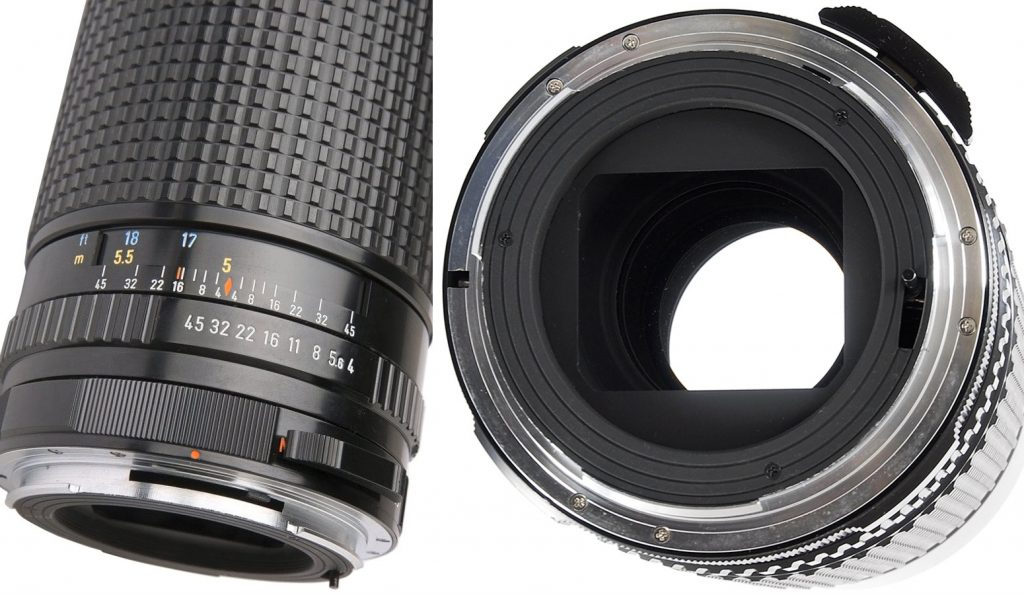 Pentax 67 300mm F4 - Distance scale, aperture ring and rear view