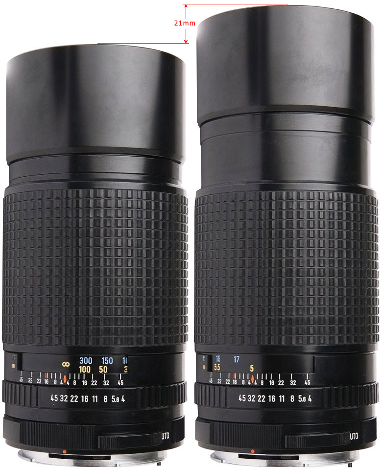 Pentax 67 300mm F4 - helicoid extension at infinity and closest distances