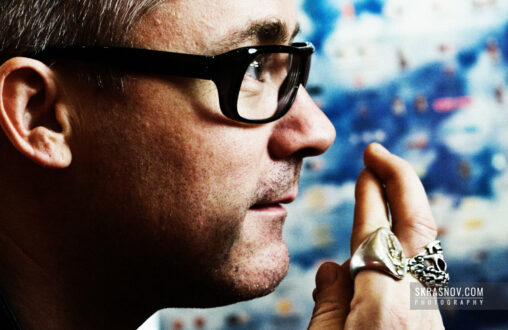 Damien Hirst , artist, opposite to New Religion artwork © Sasha Krasnov Photography